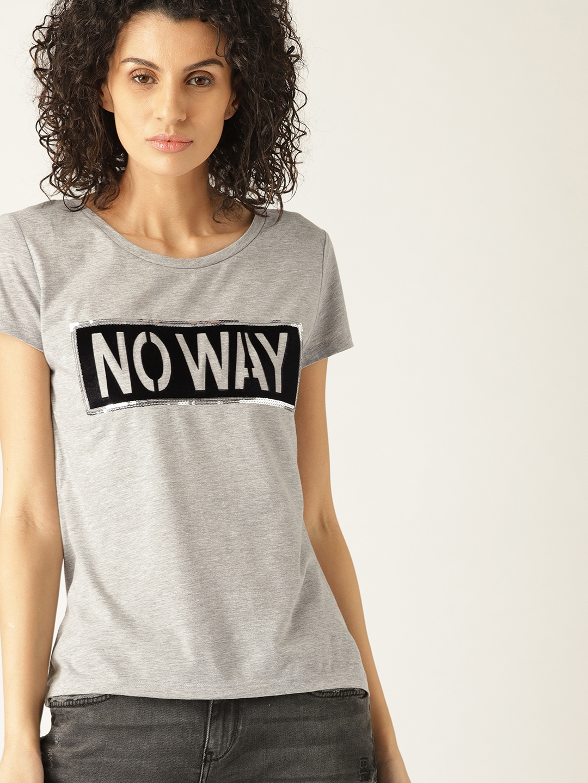51ec7d463aca18 Buy ESPRIT Women Grey Melange Printed Round Neck T Shirt - Tshirts ...