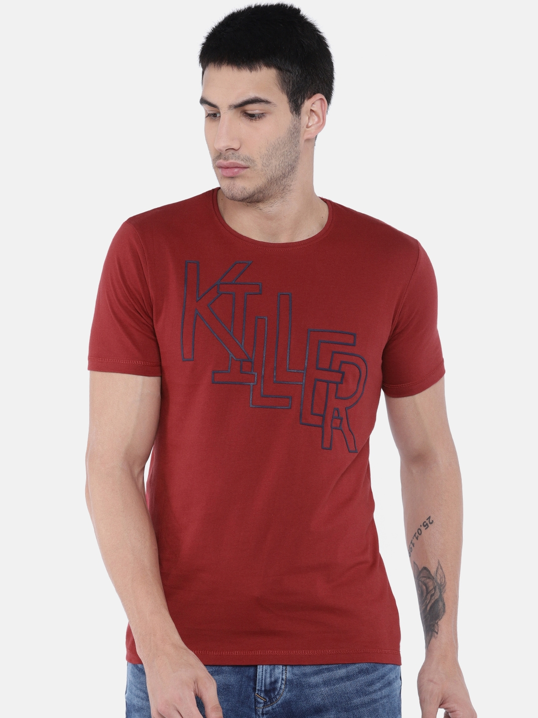 7a9a1cc02 Buy Killer Men Maroon Slim Fit Printed Round Neck T Shirt - Tshirts ...