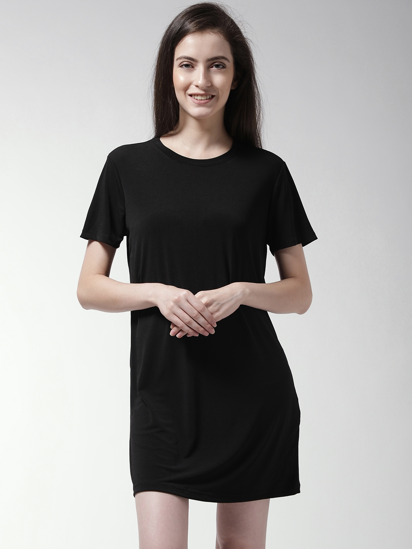 a3329724308 Buy FOREVER 21 Women Black Solid T Shirt Dress - Dresses for Women ...