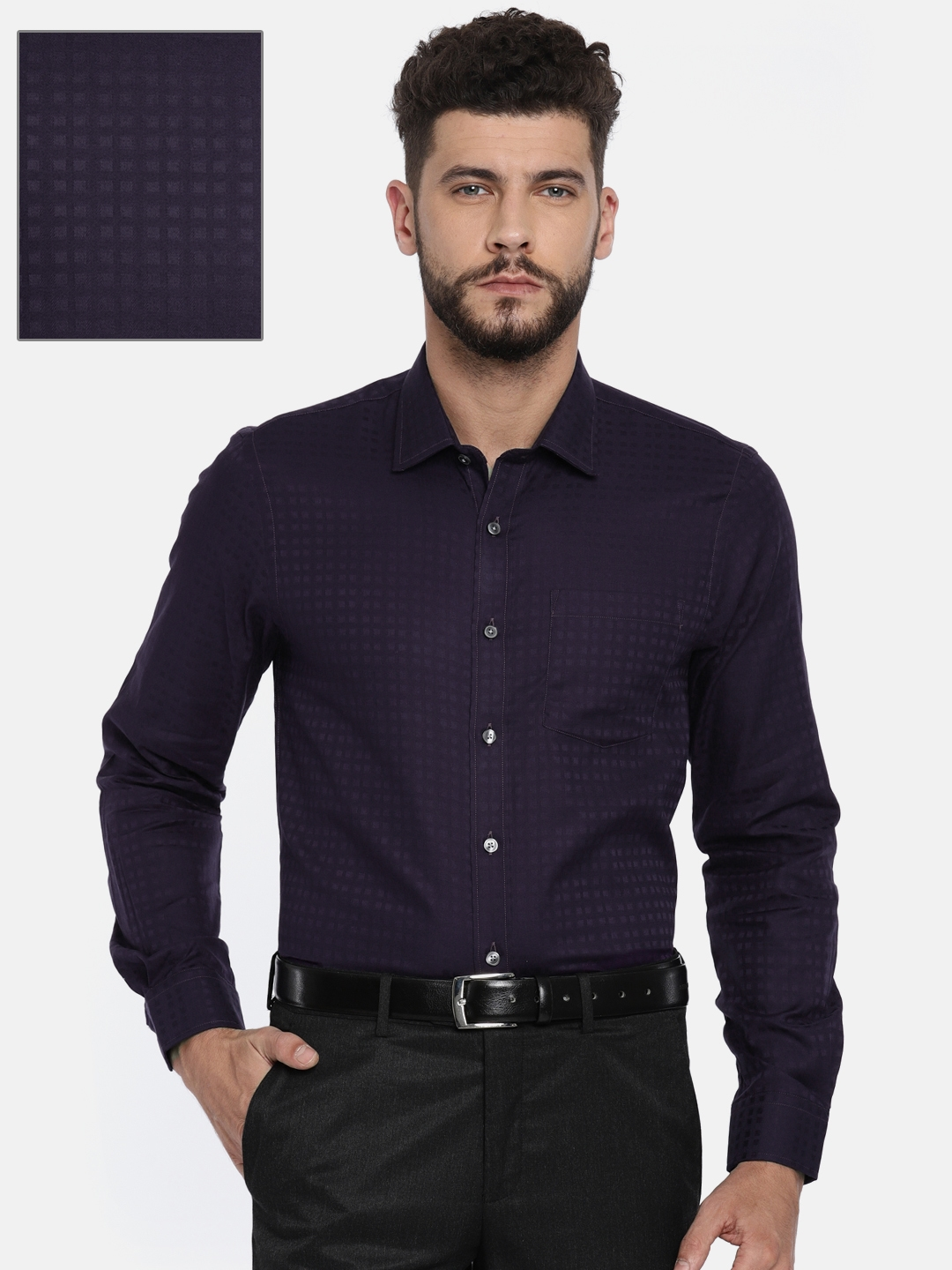 307d1f6d1fa Buy Arrow Men Purple Slim Fit Solid Formal Shirt - Shirts for Men ...