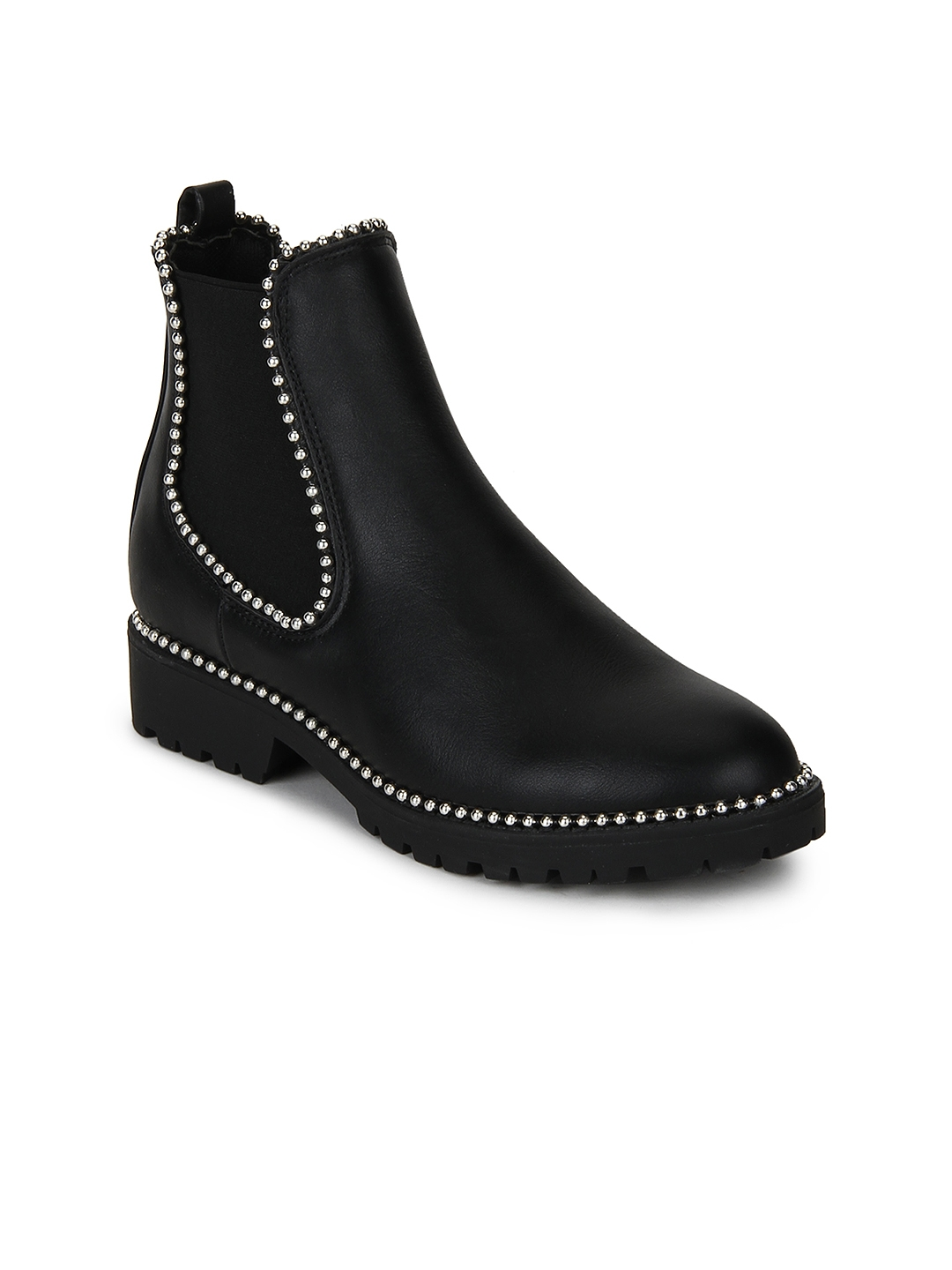 31cdff85f70 Buy Truffle Collection Women Black Solid Heeled Boots With ...