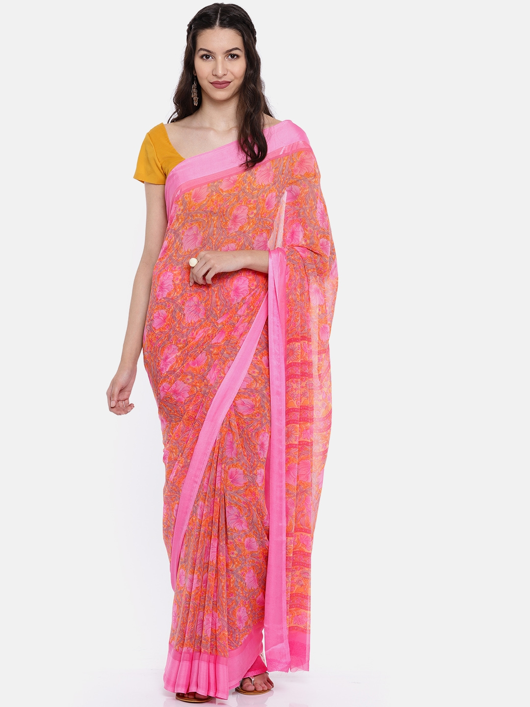 7c244bf47 Buy Moiaa Pink Printed Pure Georgette Saree - Sarees for Women ...