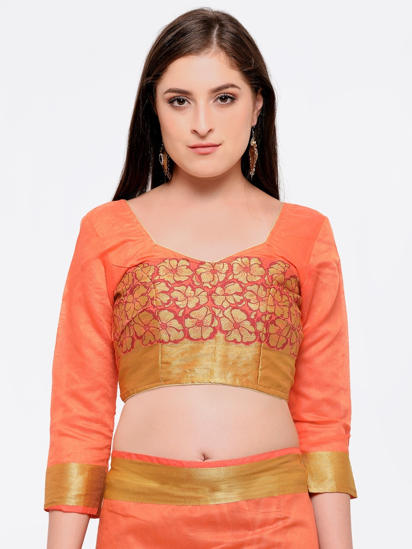 fd94629897 Buy Bhelpuri Peach Coloured Cotton Blend Woven Design Chanderi Saree ...
