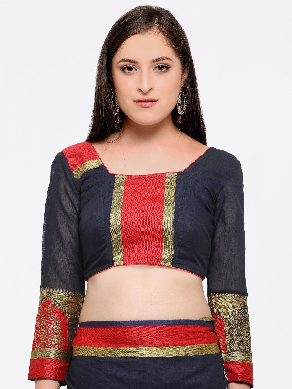 5b616818cc Buy Bhelpuri Navy Blue Cotton Blend Woven Design Chanderi Saree ...