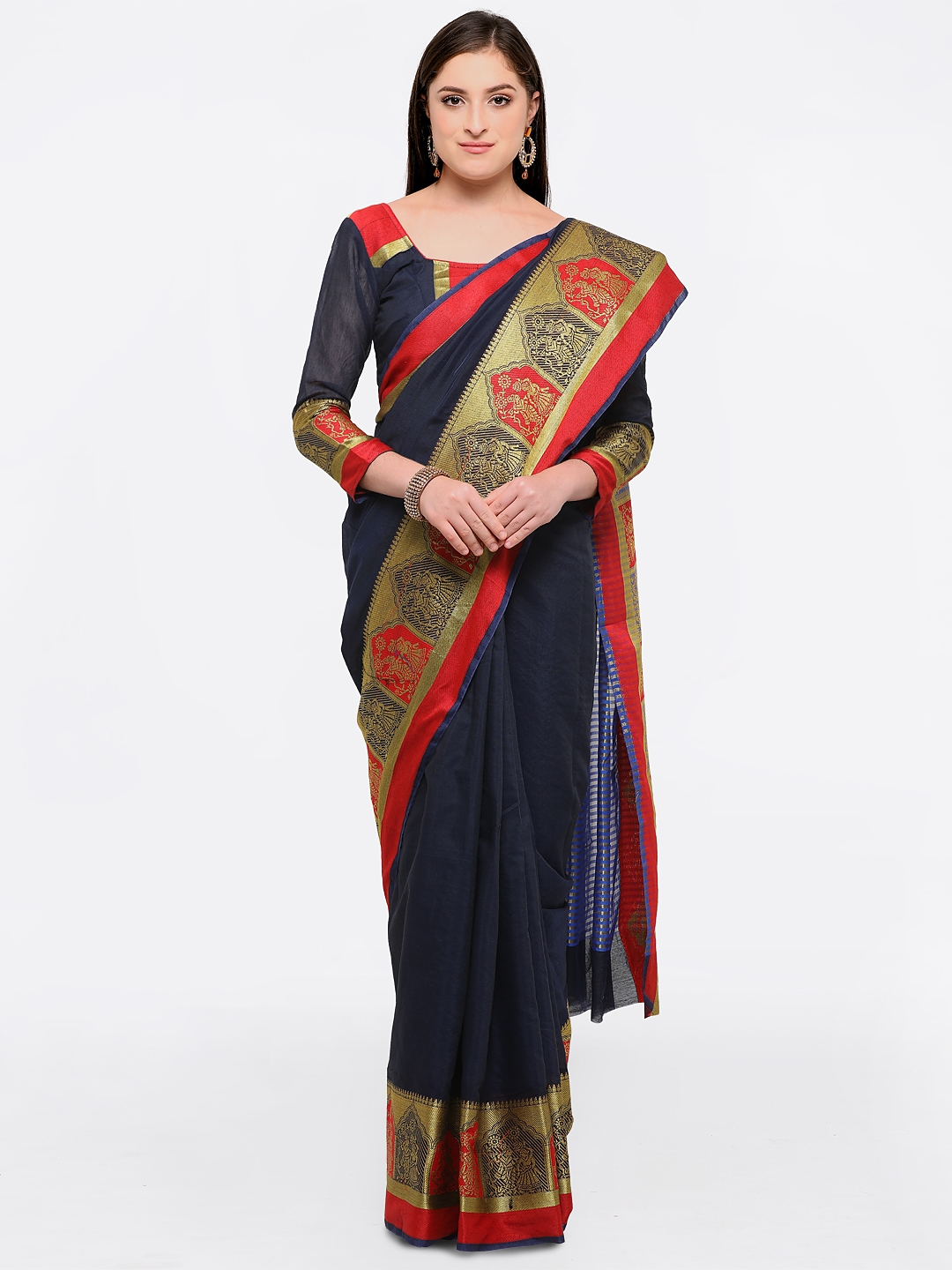 e864c1e642 Buy Bhelpuri Navy Blue Cotton Blend Woven Design Chanderi Saree ...