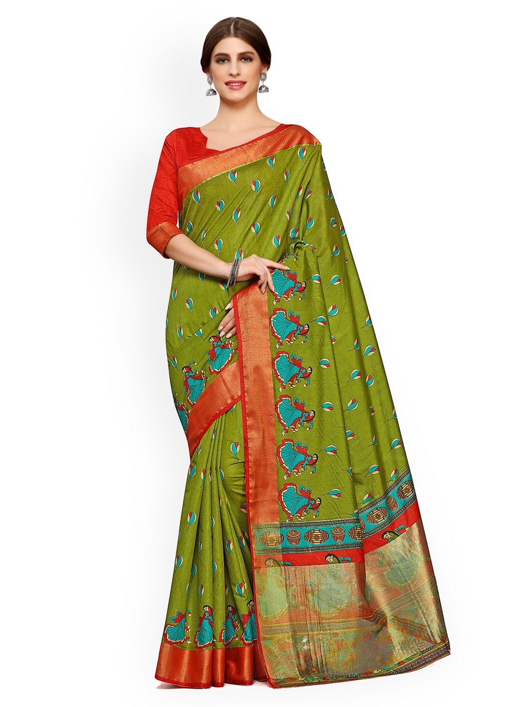 3e6a51446f3 Buy KUPINDA Green   Red Art Silk Printed Saree - Sarees for Women ...