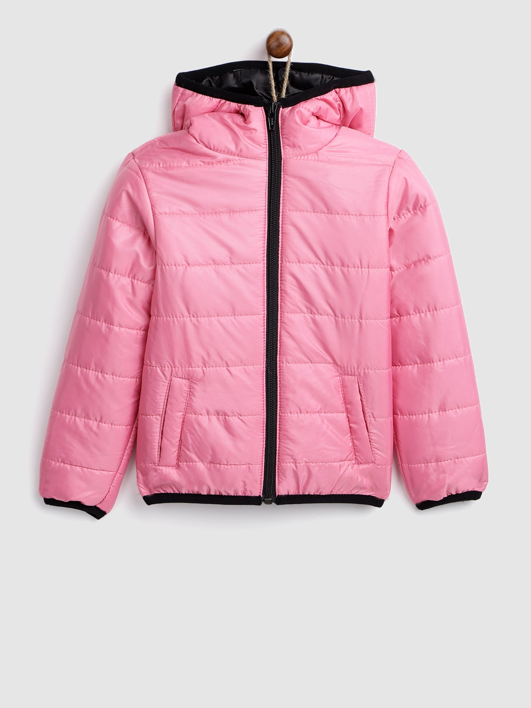 46d4996e2 Buy YK Girls Pink Solid Hooded Padded Jacket - Jackets for Girls ...