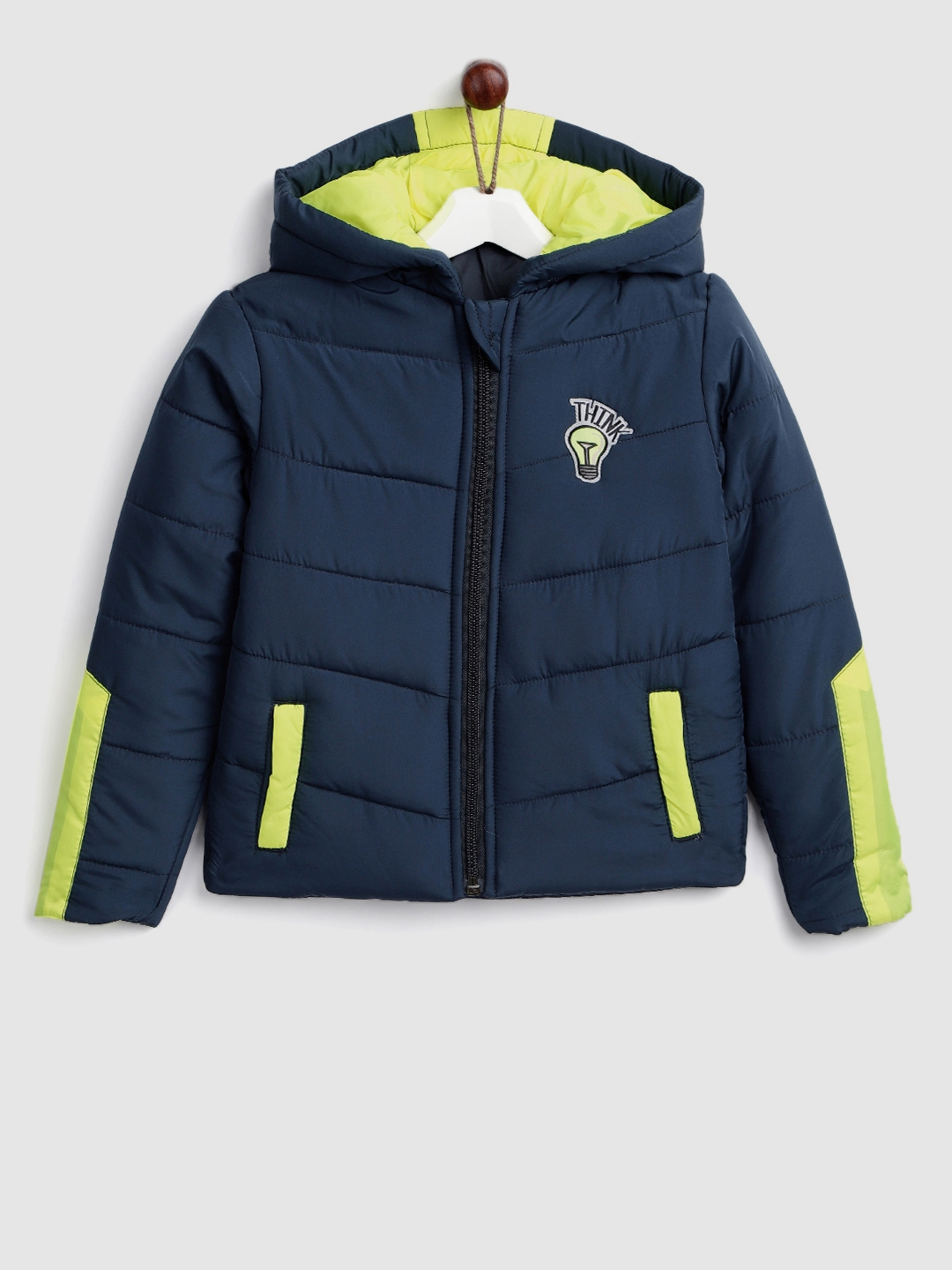 64c209ff5 Buy YK Boys Navy Blue Solid Hooded Padded Jacket - Jackets for Boys ...