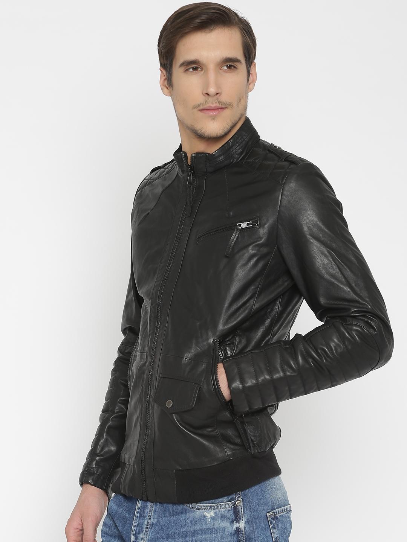 afef32f8c7 Buy BARESKIN Men Black Leather Jacket - Jackets for Men