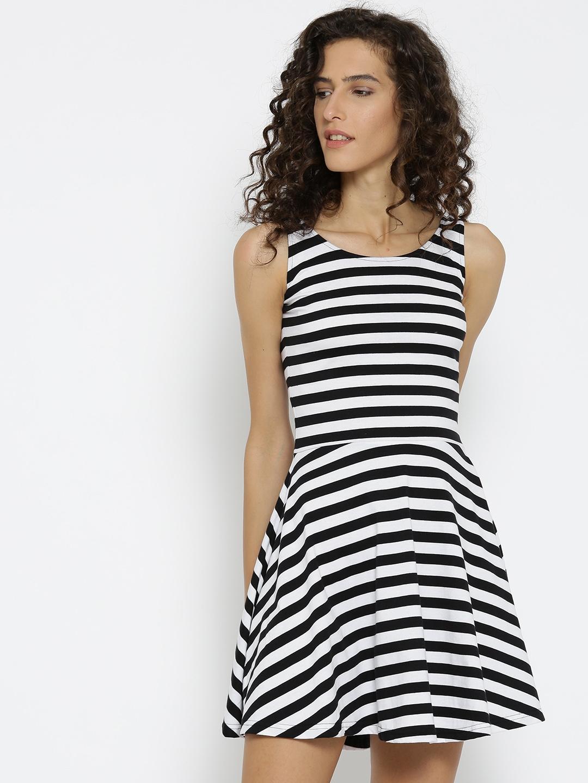 2d4947efc28c Buy Miss Chase Black   White Striped Skater Dress - Dresses for Women  619877