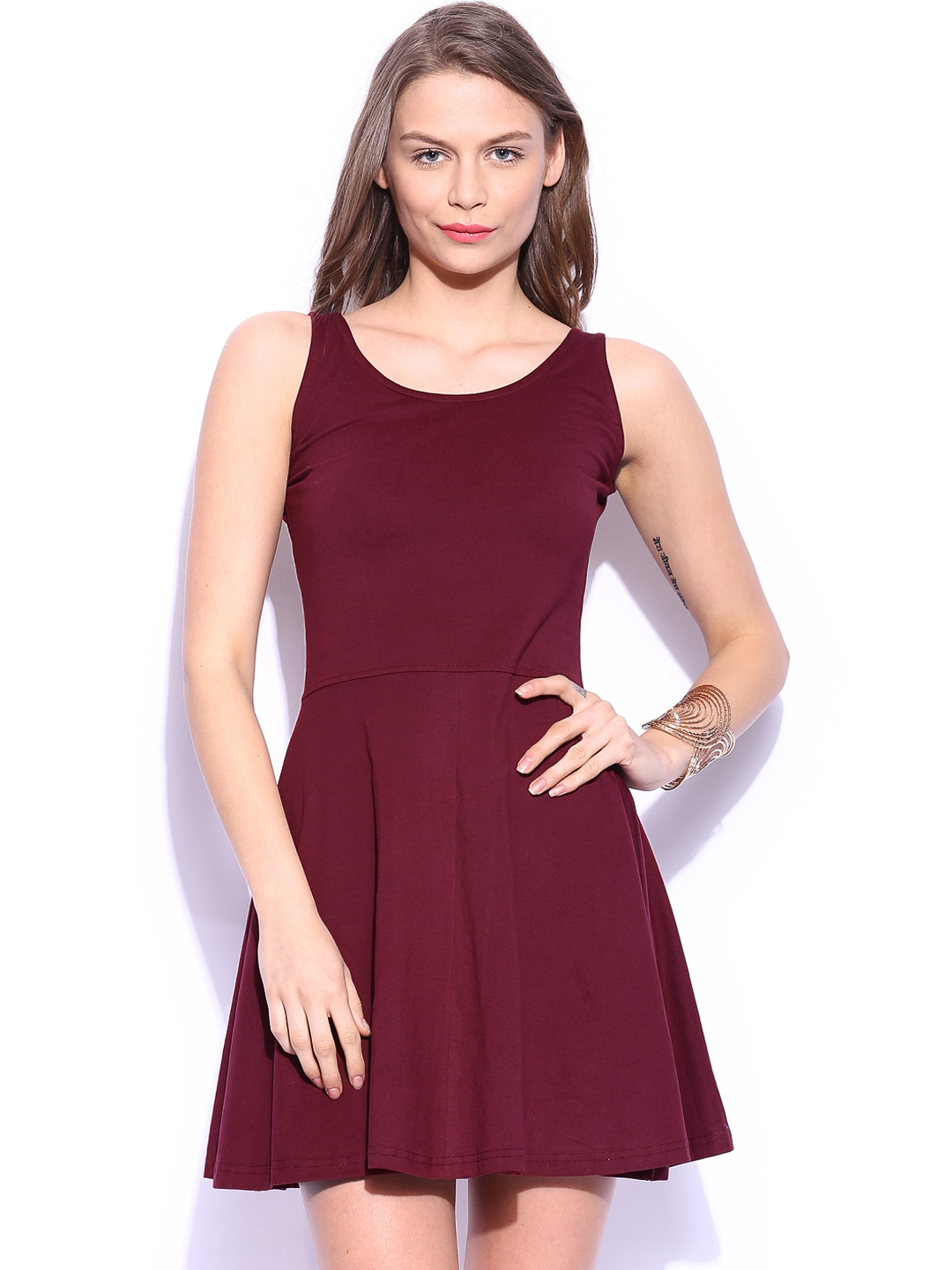 Miss Chase Maroon Skater Dress