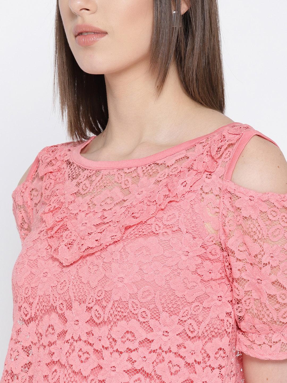 dc2242849c28 Buy Lee Cooper Women Pink Lace Top - Tops for Women 6362167 | Myntra