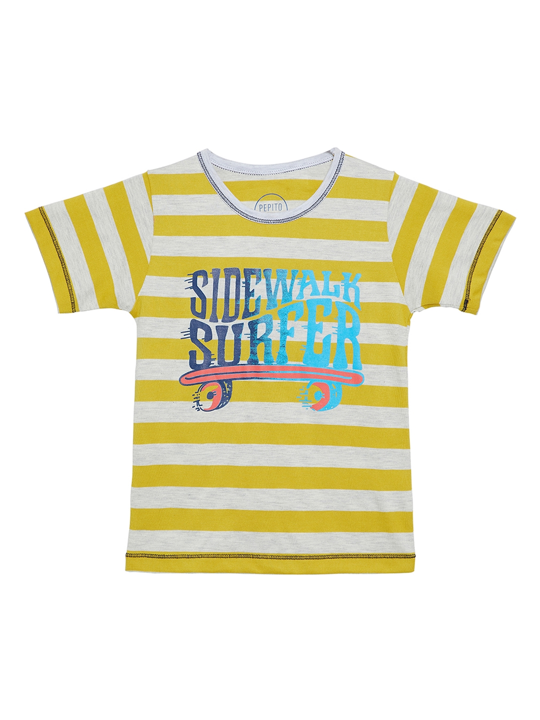 d70308c803023 Buy Pepito Girls Off White Striped Round Neck T Shirt - Tshirts for ...