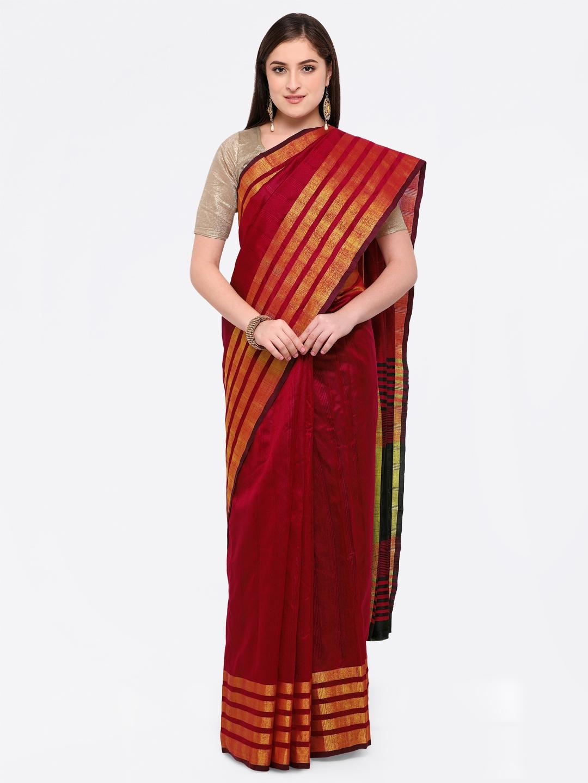 39eef0e8a36 Buy Triveni Red Art Silk Solid Saree - Sarees for Women 6489242