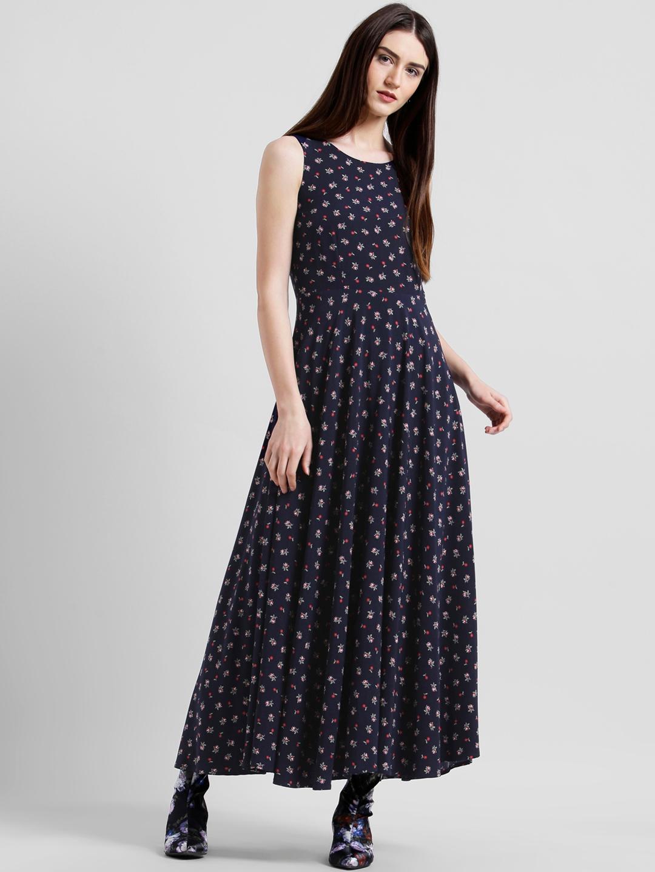6a1ab86713 Buy Zink London Women Blue Printed Maxi Dress - Dresses for Women ...