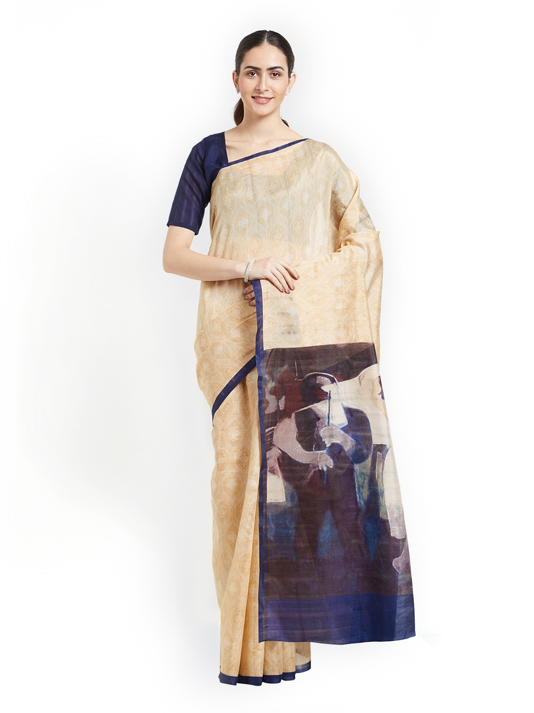 90488eb2123e5 Buy Mirchi Fashion Cream Coloured   Blue Art Silk Printed Bhagalpuri ...