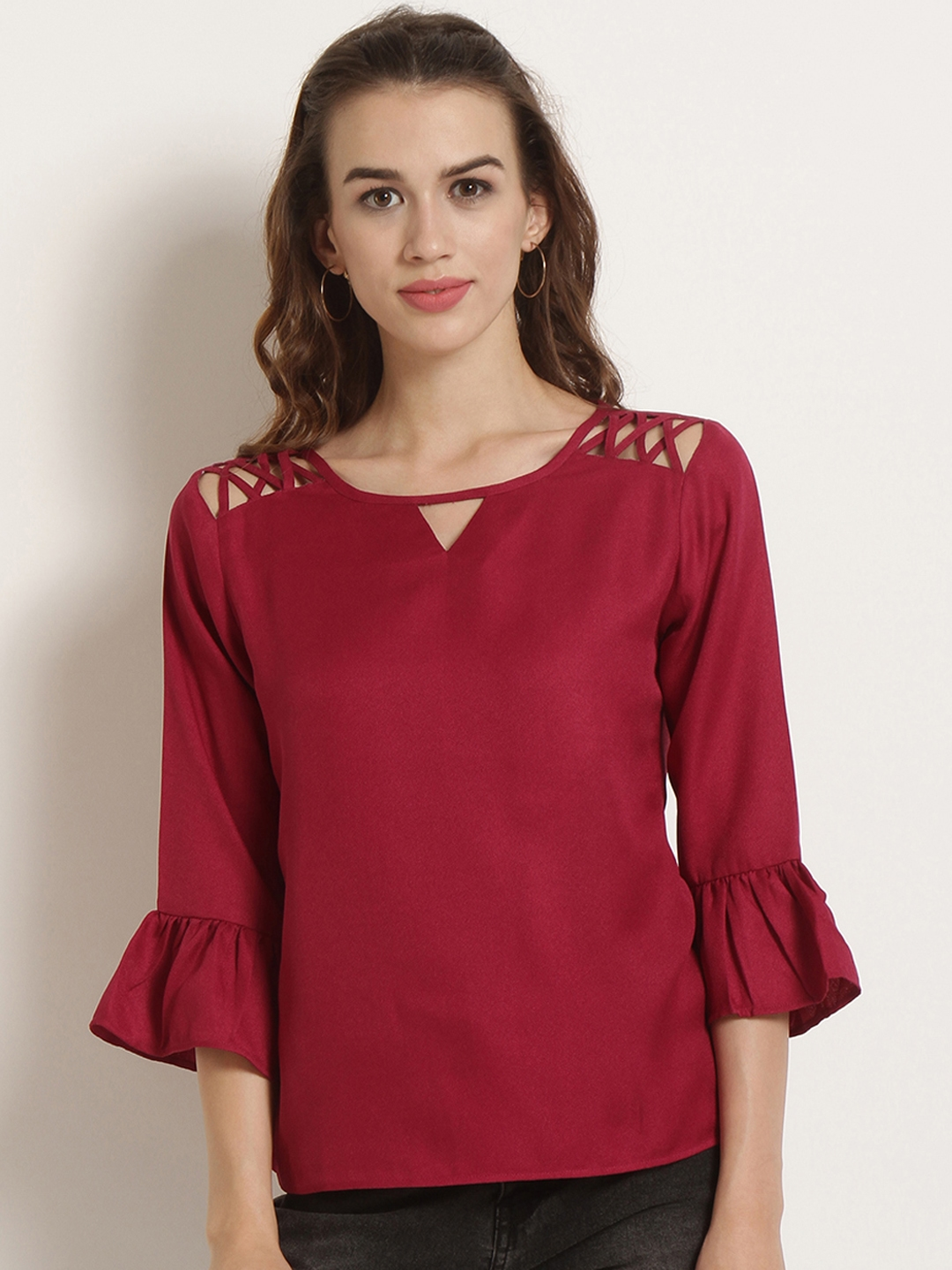 RARE Women Maroon Solid Top