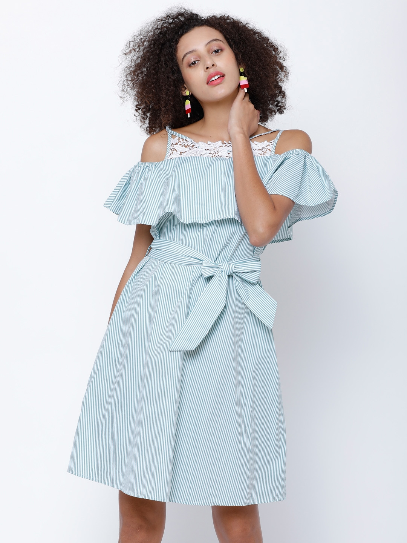 59fb7083704 Buy Tokyo Talkies Women Blue Striped Fit   Flare Dress - Dresses for ...