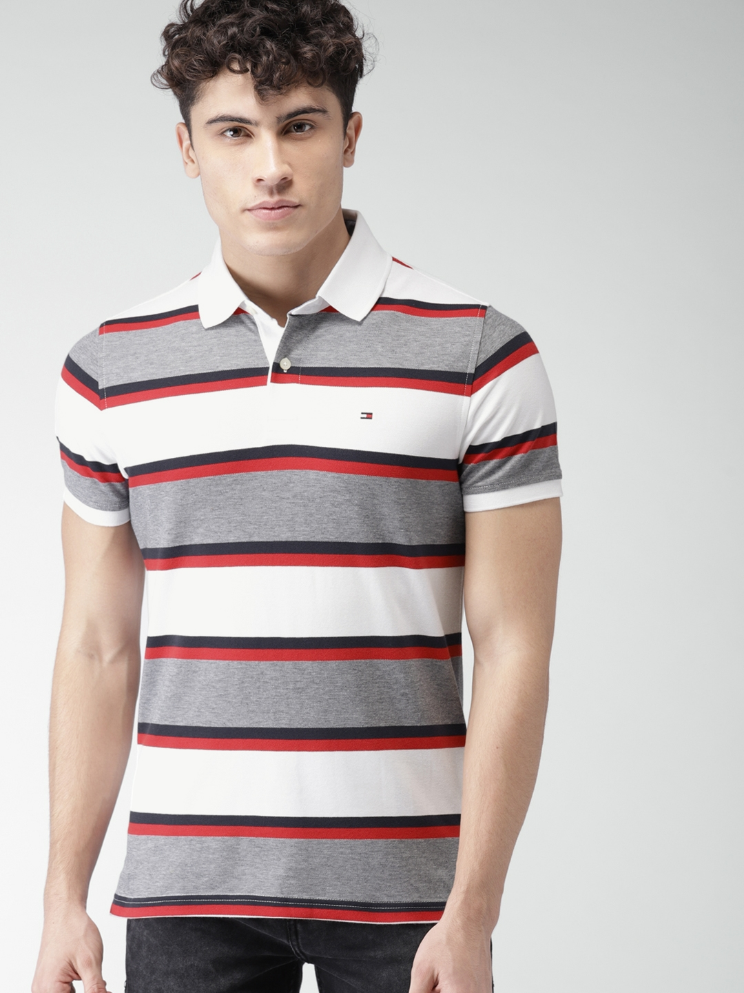 526095c5b Tommy Hilfiger Men White & Navy Slim Fit Striped Polo Collar T-shirt. Best  Price: ...