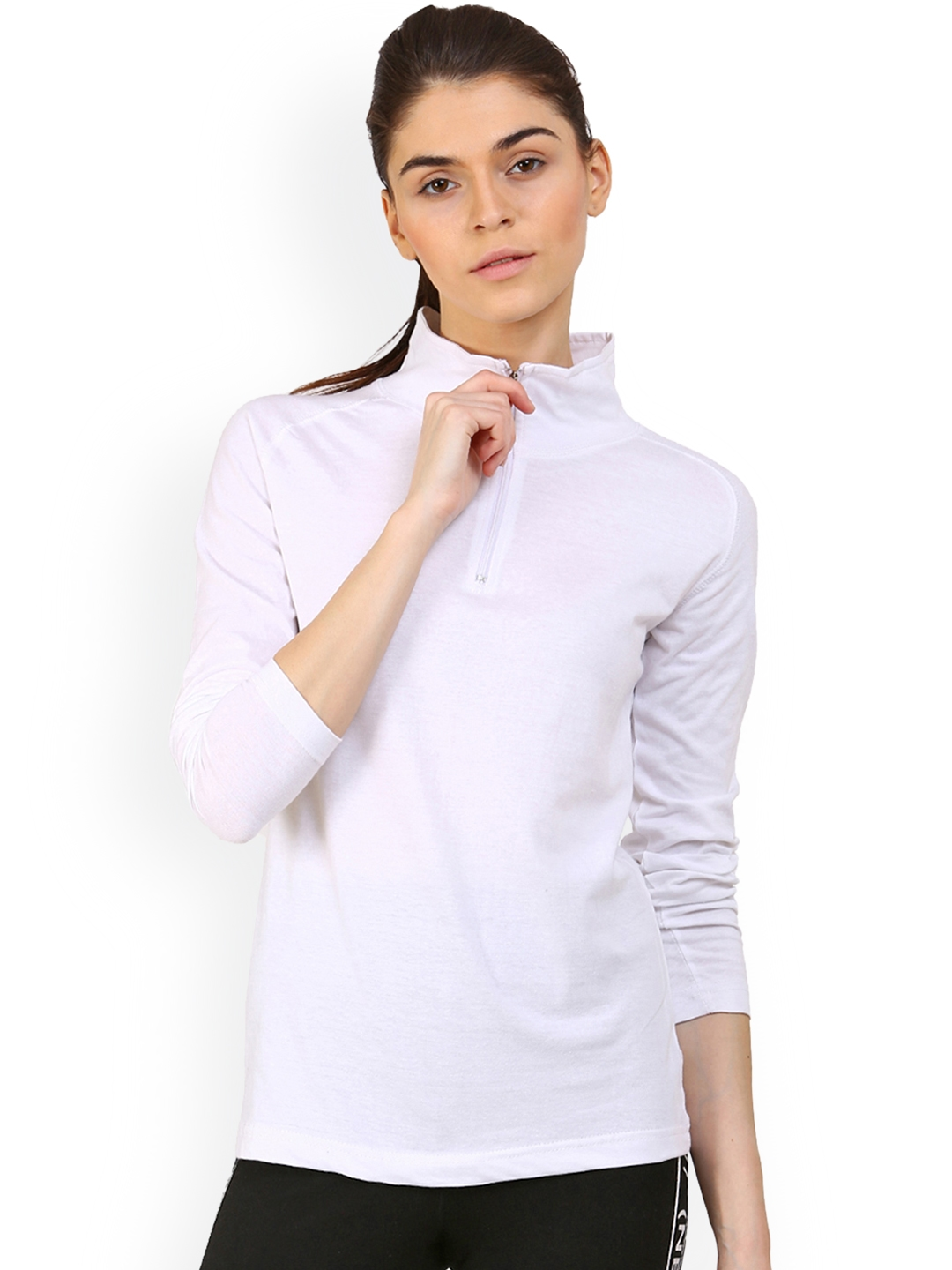 fb439bed9 Buy Appulse Women White Solid High Neck T Shirt - Tshirts for Women ...