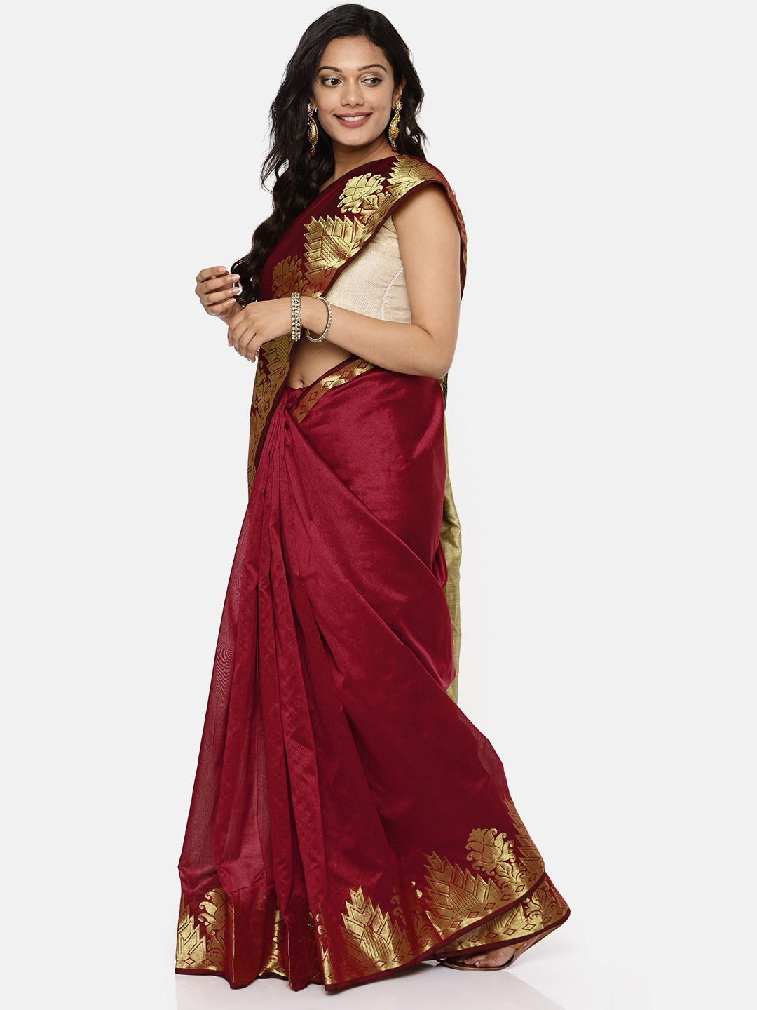 e VASTRAM Maroon Woven Design Silk Cotton Saree