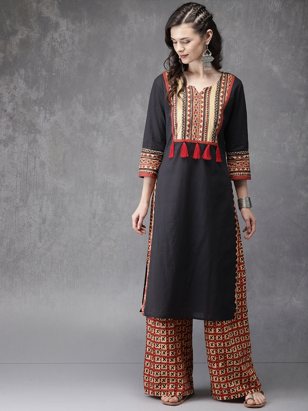 6221aa9dffa Buy Anouk Women Black   Rust Red Bagru Print Kurta With Palazzos ...