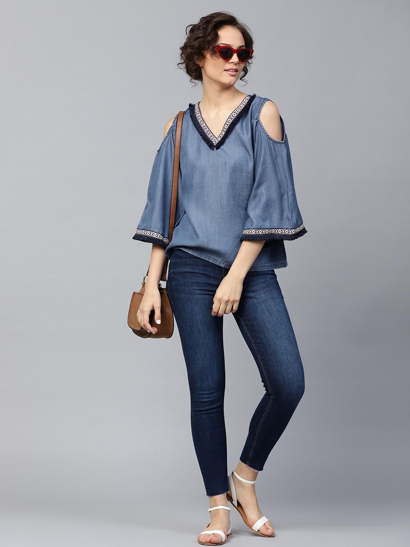 0f106857a06a4 Buy SASSAFRAS Women Blue Solid Denim Cold Shoulder Top - Tops for ...