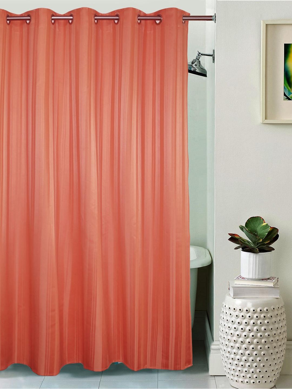 Buy Lushomes Peach Coloured Striped Shower Curtain