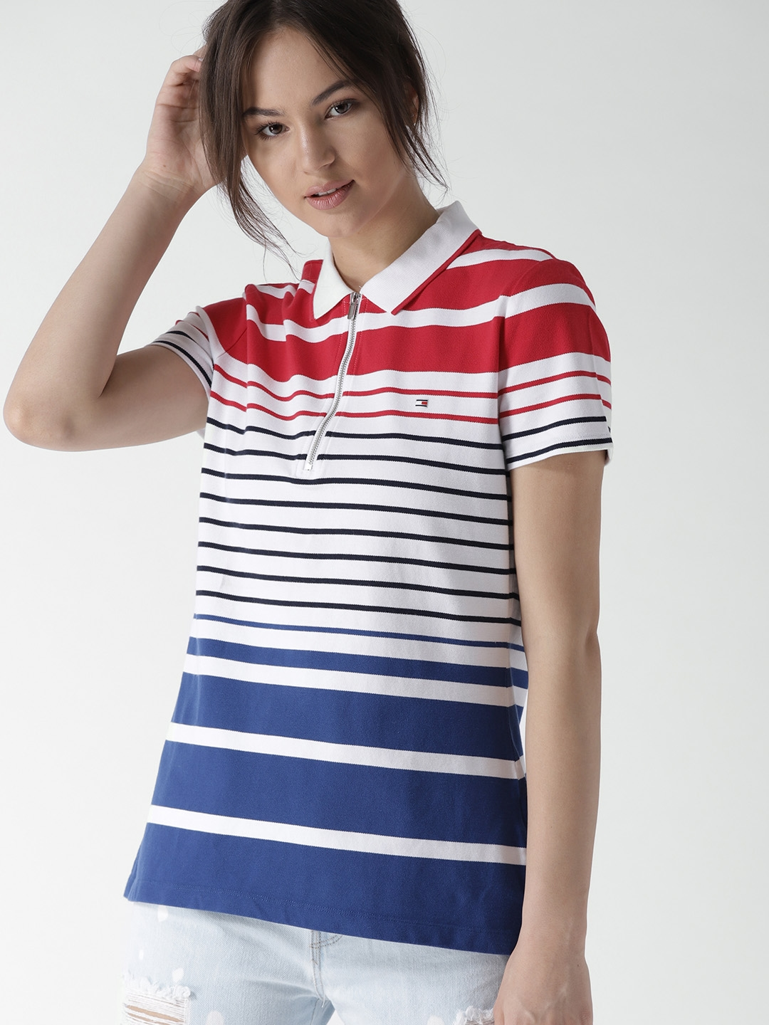 1a55625f Buy Tommy Hilfiger Women White & Blue Striped Polo Collar T Shirt ...