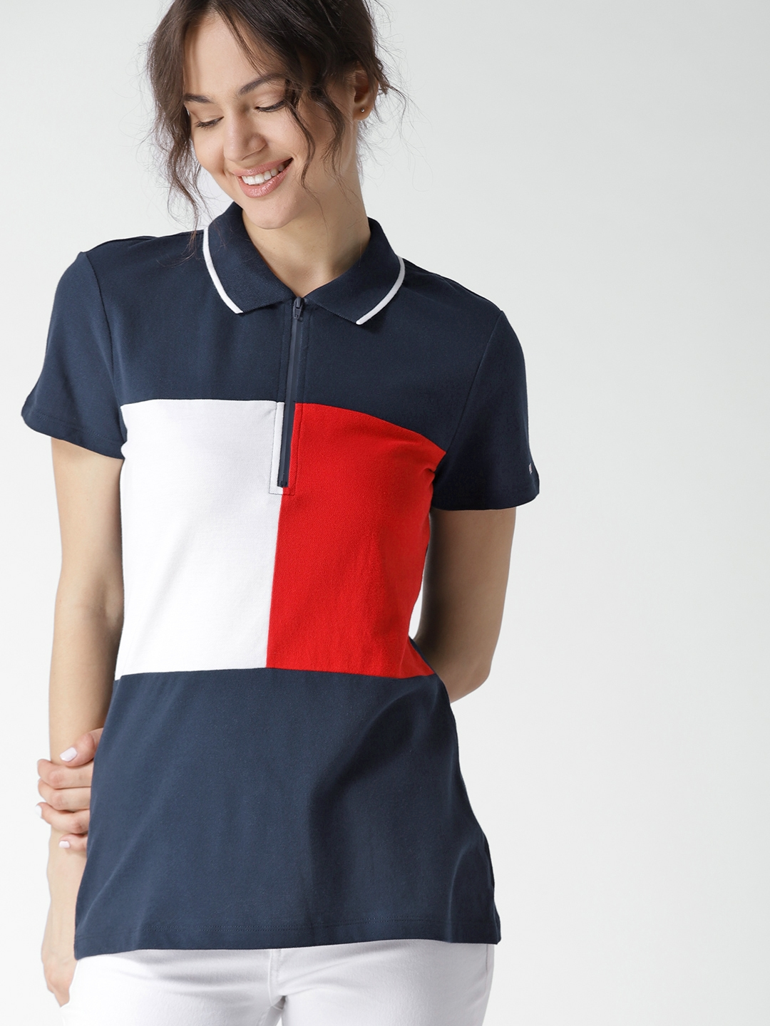 9e0c6cac Buy Tommy Hilfiger Women Navy Blue Colourblocked Polo Collar T Shirt ...