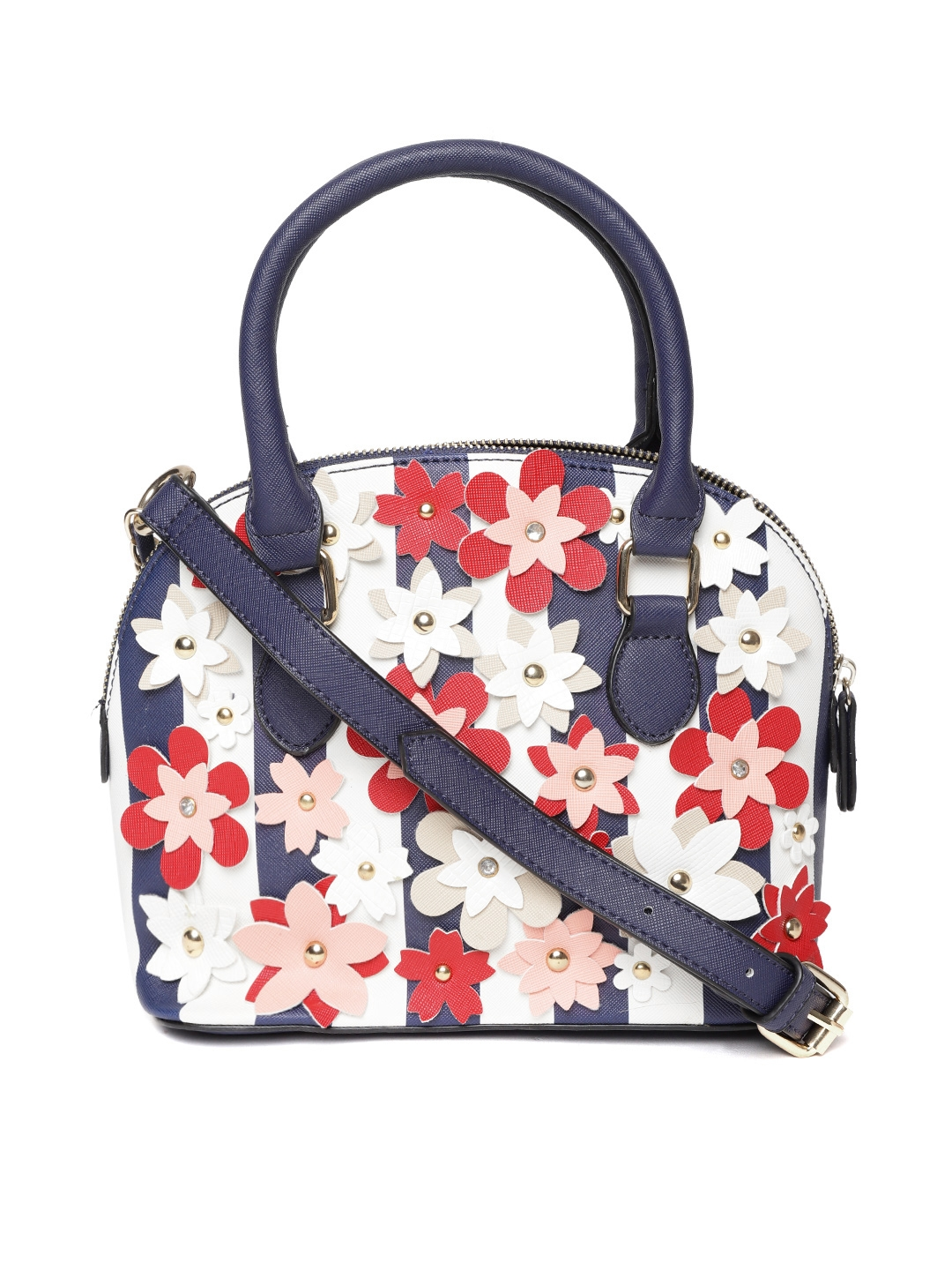 d10b3fa0c7 Buy ALDO Navy   White Striped Floral Applique Handheld Bag ...