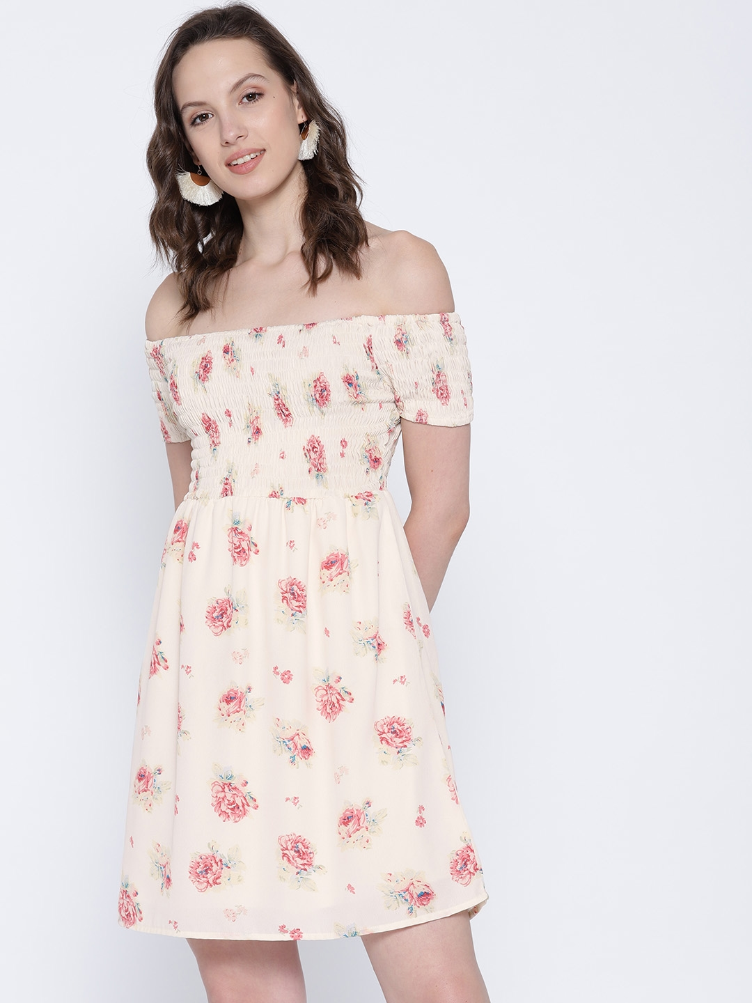 91688404bd Sera Women Off-White & Pink Floral Print Off Shoulder Fit and Flare Dress