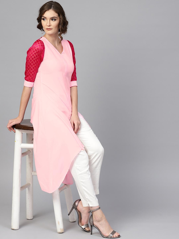 GERUA Women Pink Solid A Line Kurta