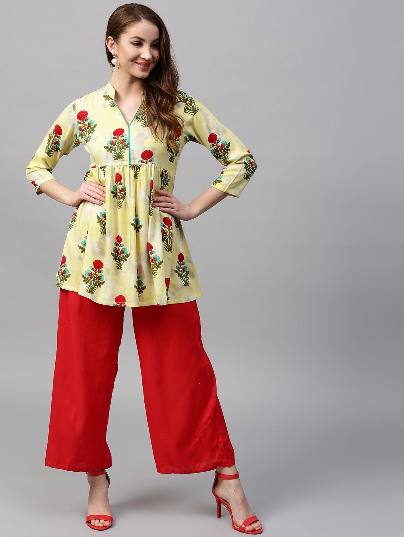 05ed862da Buy GERUA Yellow   Red Printed A Line Kurti - Kurtis for Women ...