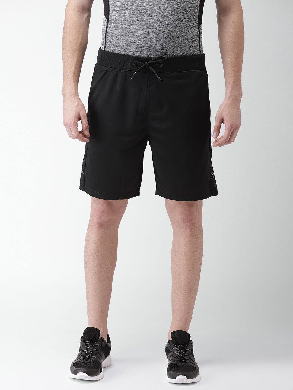 f3eb54b866 Buy Kappa Men Black Solid Regular Fit Sports Shorts - Shorts for Men ...
