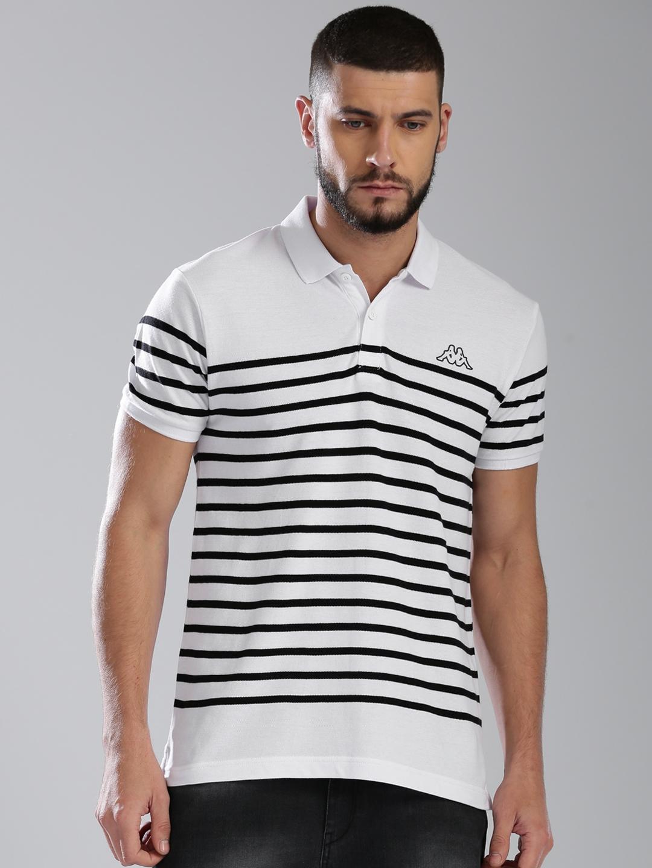 facccf16337c Buy Kappa Men White & Black Striped Polo Collar T Shirt - Tshirts ...