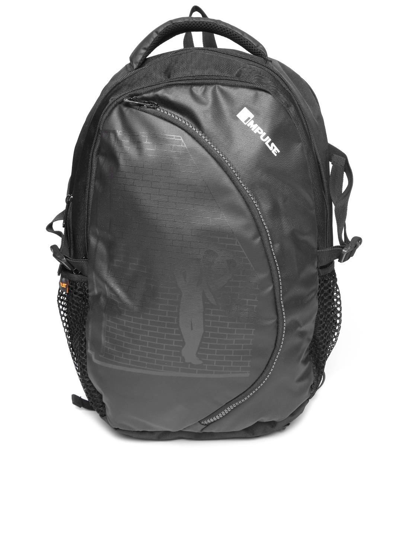 Impulse Unisex Black Printed Laptop Backpack