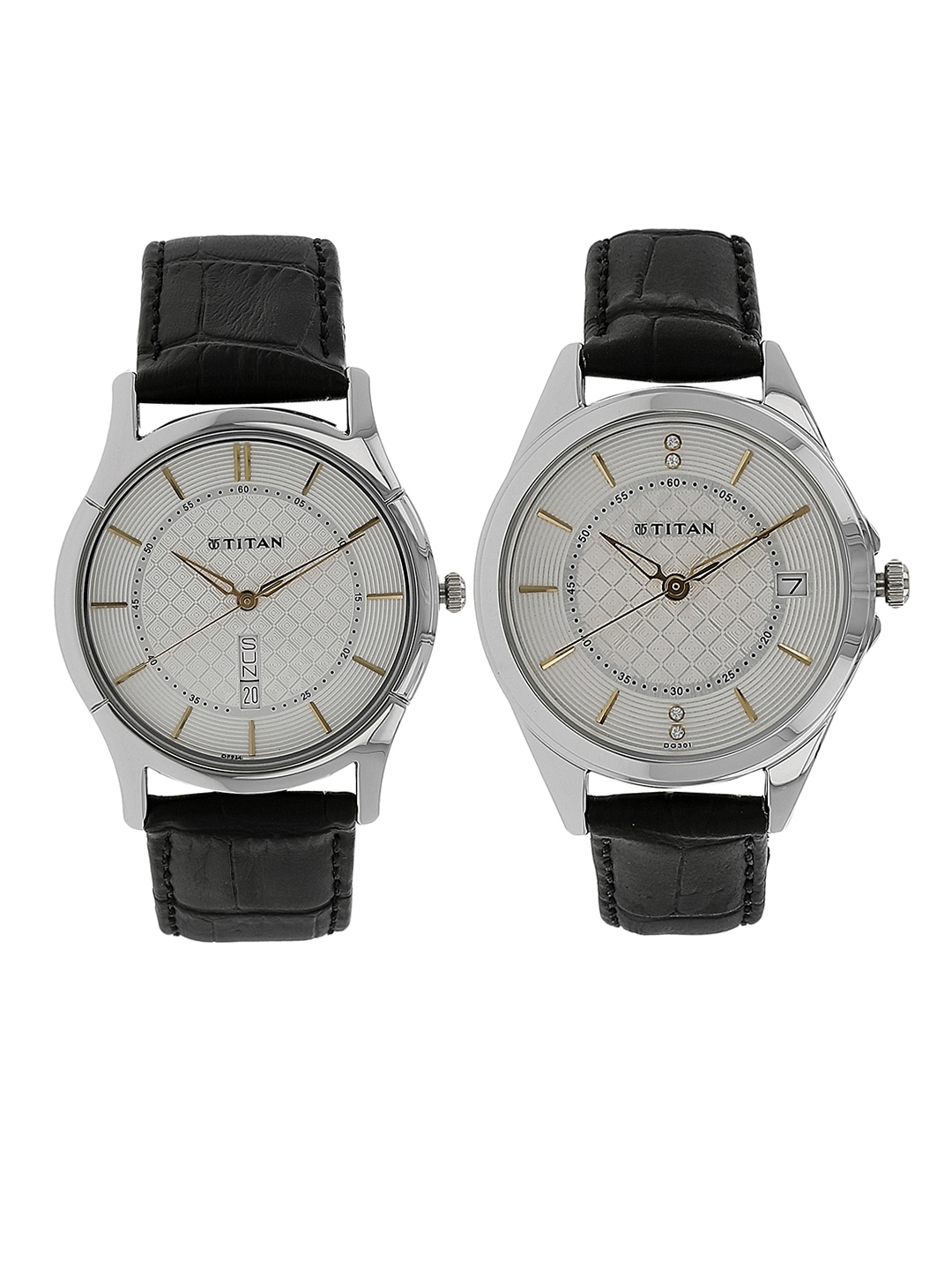 914db13cd8 Titan Men Silver-Toned & Off-White His & Hers Analogue Watch NK16362565SL01