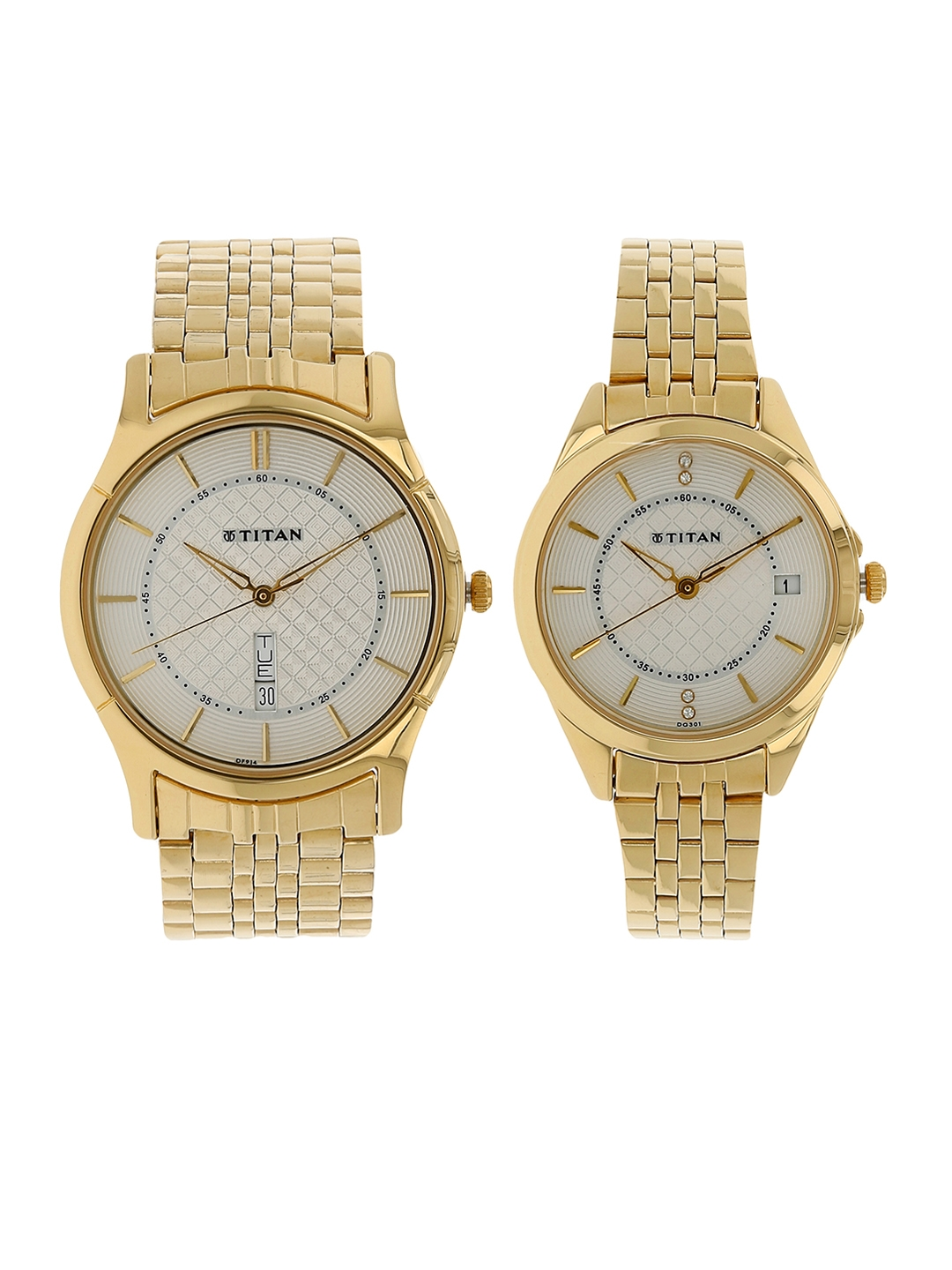 7150c6ee85 Titan Men Gold-Toned & Off-White His & Hers Analogue Watch NK16362565YM01