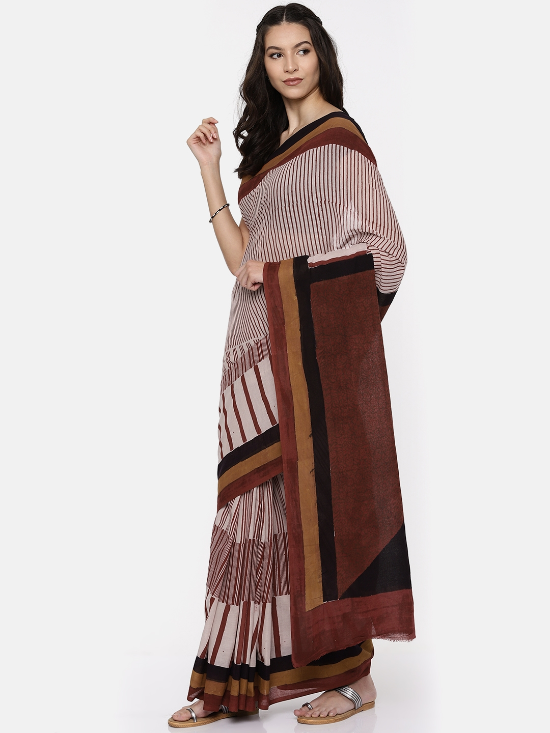 a7518182a Buy Gocoop Rust Pure Cotton Striped Bagh Saree - Sarees for Women ...