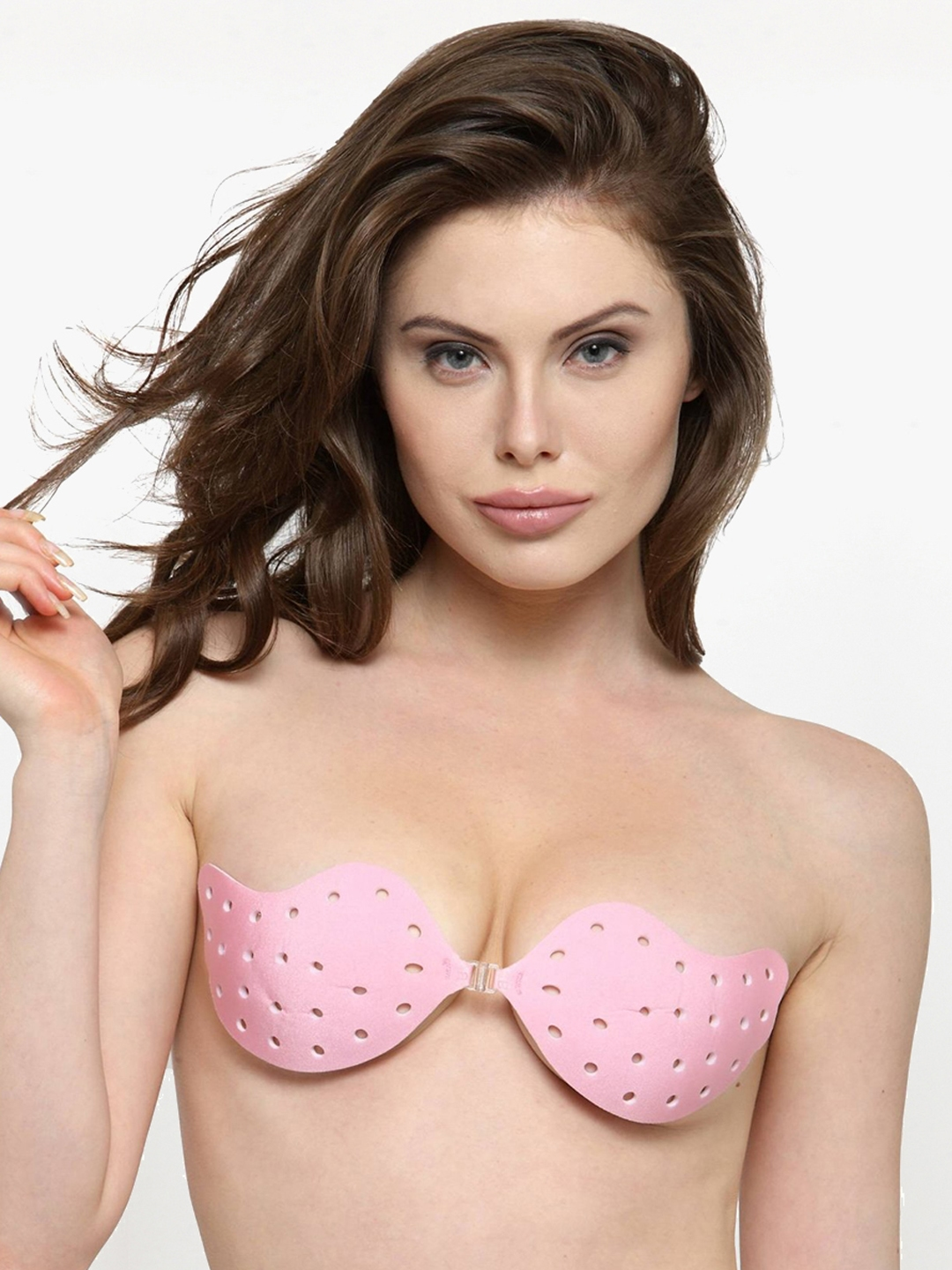 5ca6a3d111226 N-Gal Pink Solid Non-Wired Lightly Padded Self-Adhesive T-shirt Bra NNSB11
