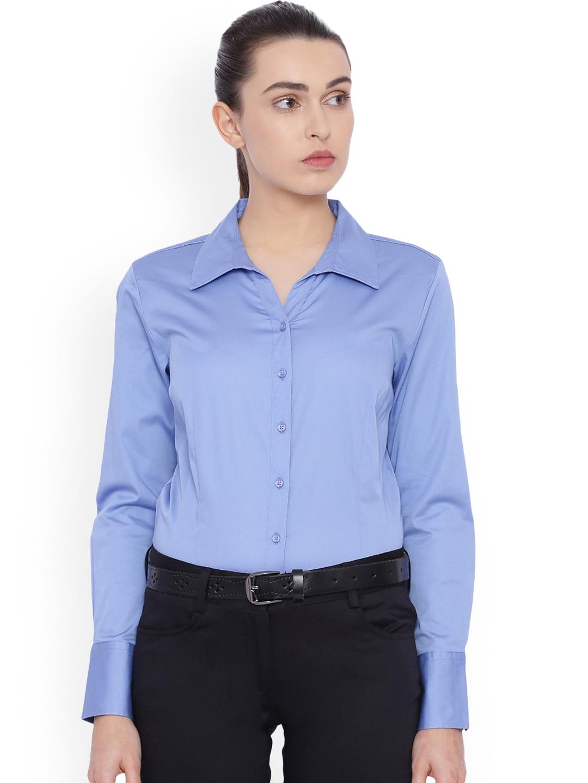 Allen Solly Woman Blue Regular Fit Solid Formal Shirt Allen Solly Woman Shirts
