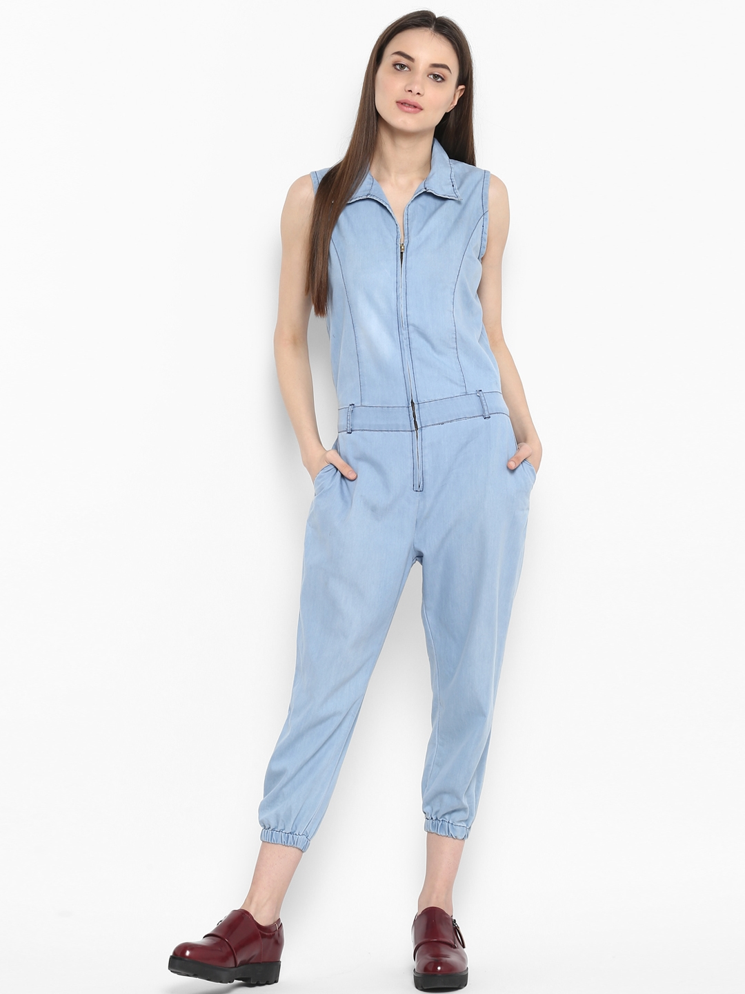 1a87176f893b Buy StyleStone Blue Faded Denim Capri Jumpsuit - Jumpsuit for Women ...