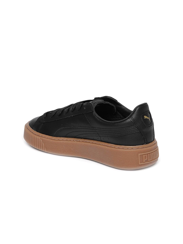 341822c5f54 Buy Puma Women Black Leather Basket Platform Core Sneakers - Casual ...