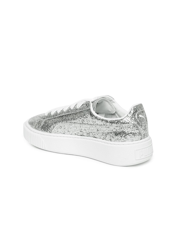 Buy Puma Women Silver Toned Basket Platform Glitter Sneakers ... 7701e92a5