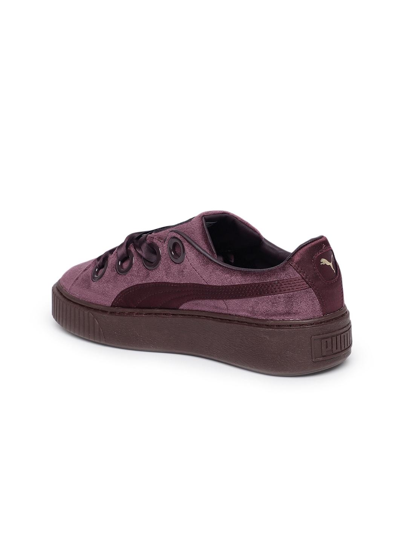 b79ff6f321e Buy Puma Women Burgundy Platform Kiss Velvet Sneakers - Casual Shoes ...
