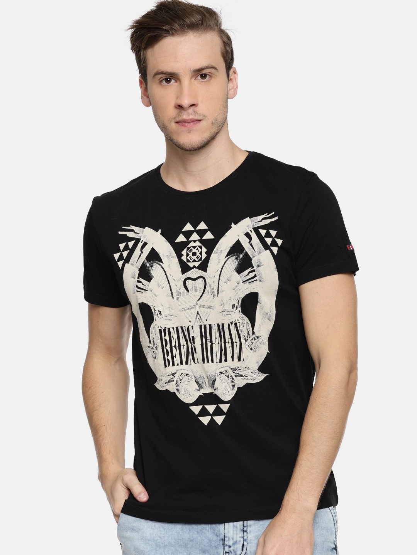 922ee439 Buy Being Human Clothing Men Black Printed Round Neck T Shirt ...