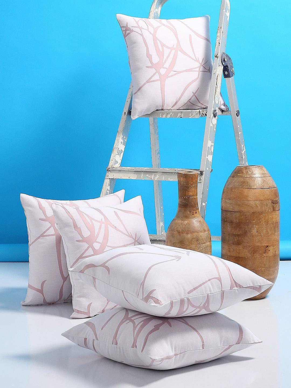 Buy Rosara Home White Set Of 5 Geometric Square Cushion Covers