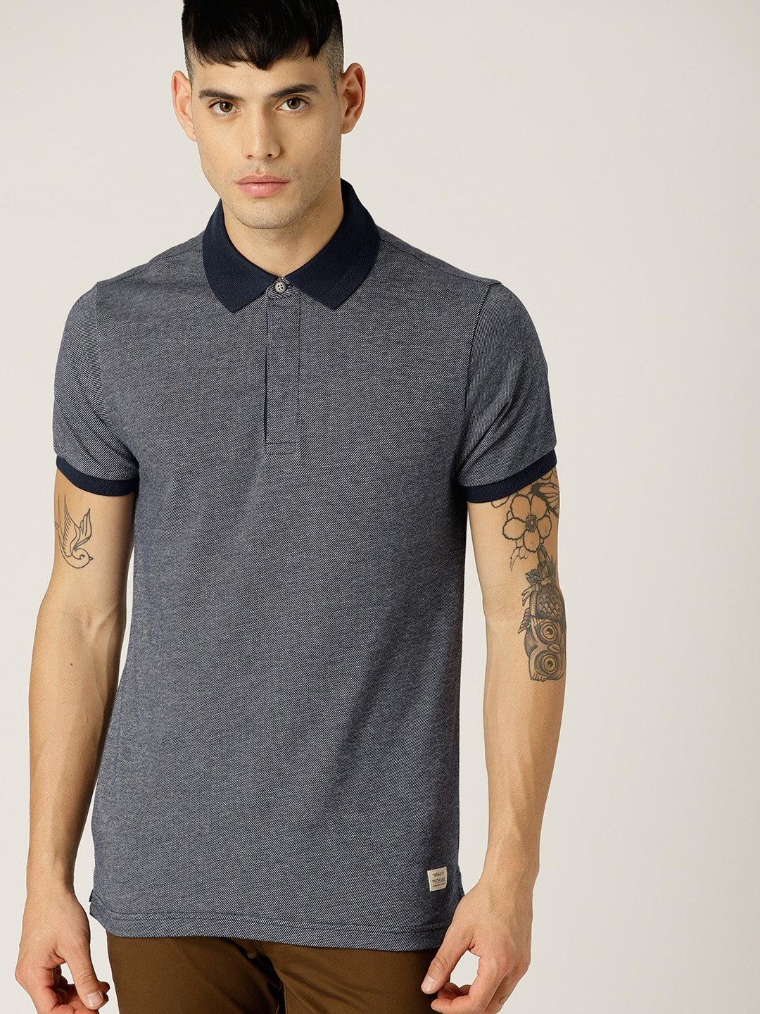 b8d80251aea Buy United Colors Of Benetton Men Navy Blue Solid Polo Collar T ...