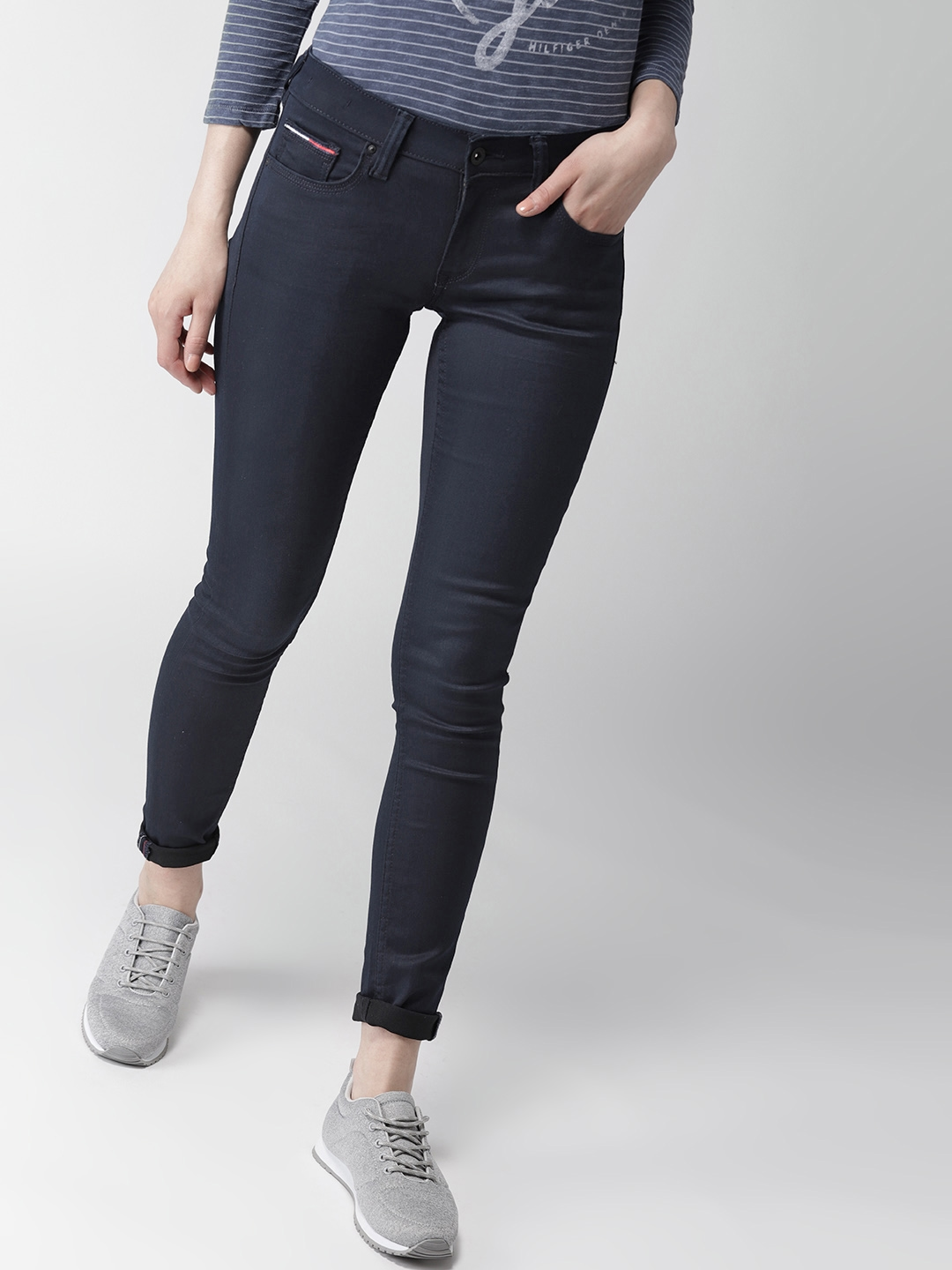 934fd3ee Tommy Hilfiger Women Navy Blue Skinny Fit Low-Rise Clean Look Stretchable  Jeans